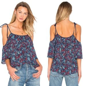 Parker Floral Silk Tessy Top in Dewberry B